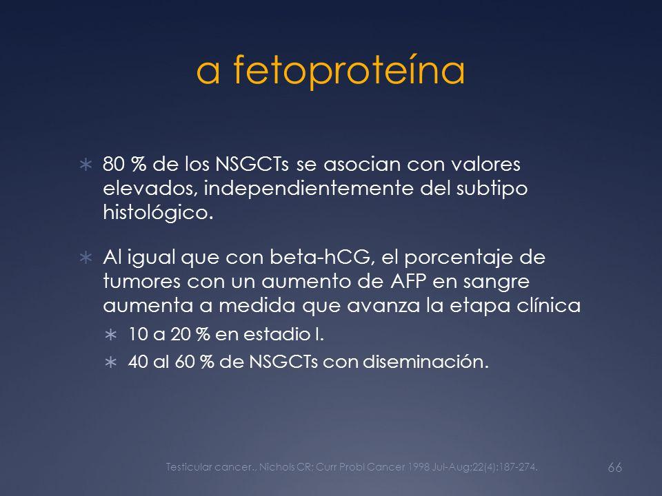 α fetoproteína 80 % de los NSGCTs se asocian con valores elevados, independientemente del subtipo histológico.