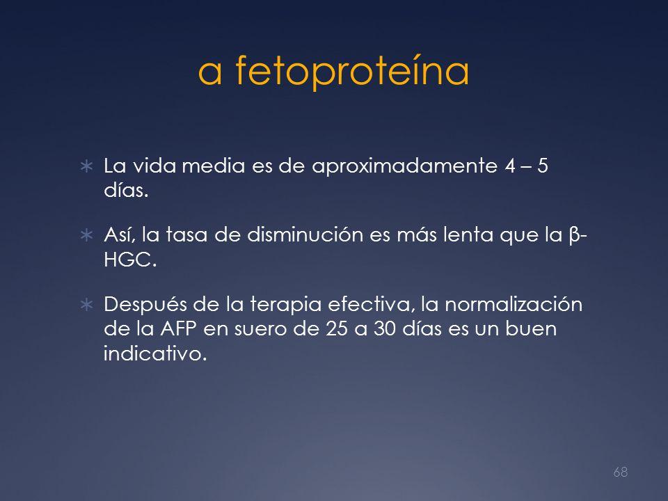 α fetoproteína La vida media es de aproximadamente 4 – 5 días.