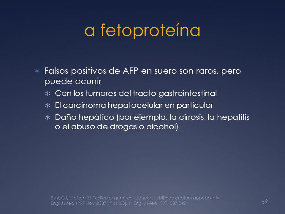 α fetoproteína Falsos positivos de AFP en suero son raros, pero puede ocurrir. Con los tumores del tracto gastrointestinal.