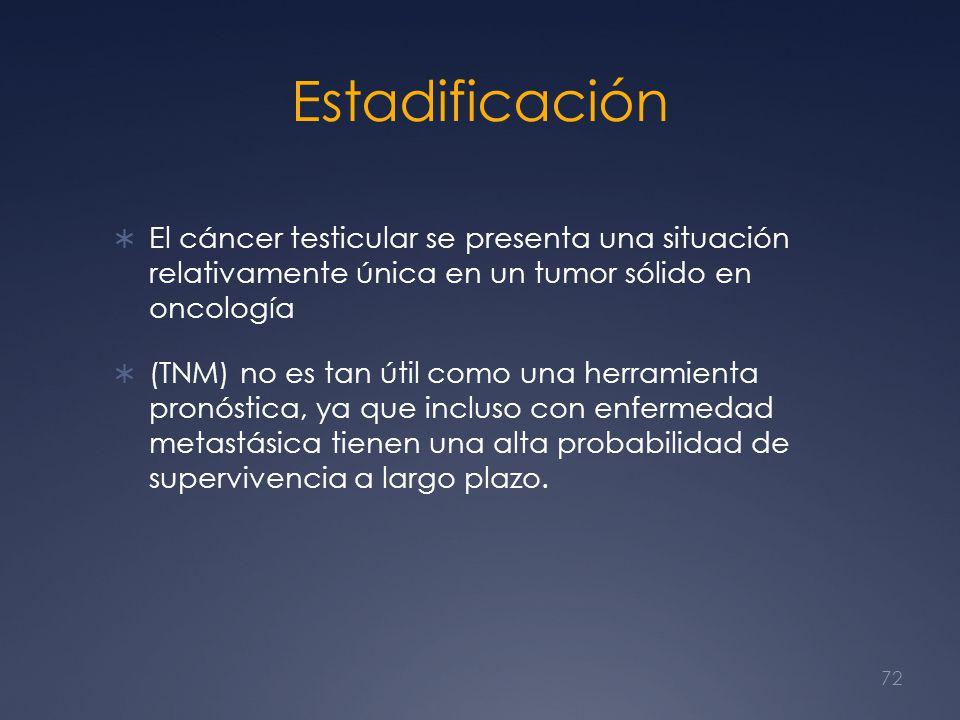Estadificación El cáncer testicular se presenta una situación relativamente única en un tumor sólido en oncología.