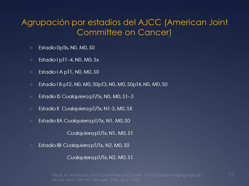 Agrupación por estadios del AJCC (American Joint Committee on Cancer)