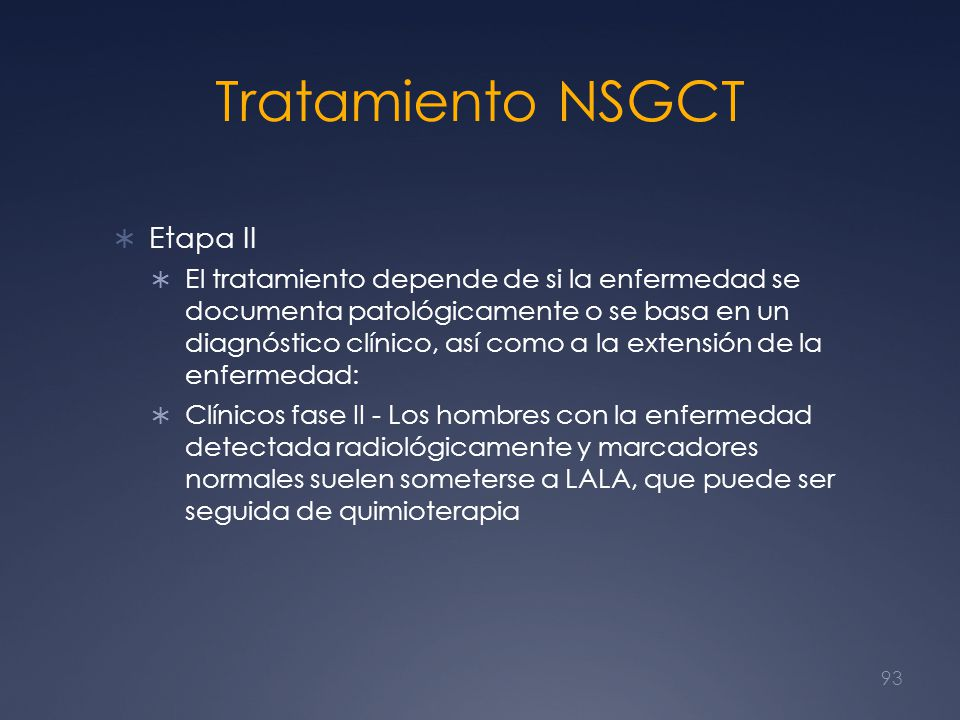 Tratamiento NSGCT Etapa II