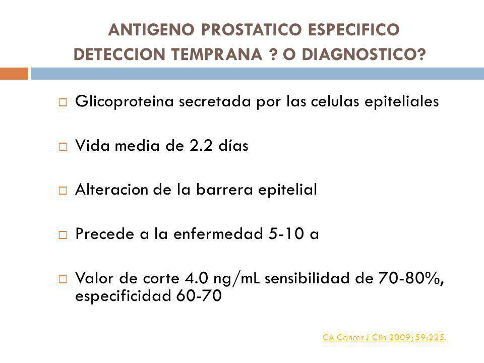 ANTIGENO PROSTATICO ESPECIFICO DETECCION TEMPRANA O DIAGNOSTICO