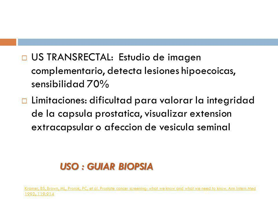 US TRANSRECTAL: Estudio de imagen complementario, detecta lesiones hipoecoicas, sensibilidad 70%