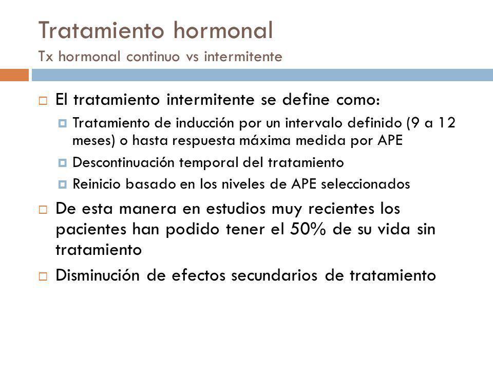 Tratamiento hormonal Tx hormonal continuo vs intermitente