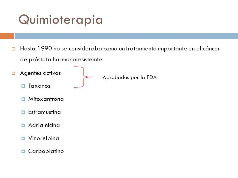 Quimioterapia Hasta 1990 no se consideraba como un tratamiento importante en el cáncer de próstata hormonoresistemte.