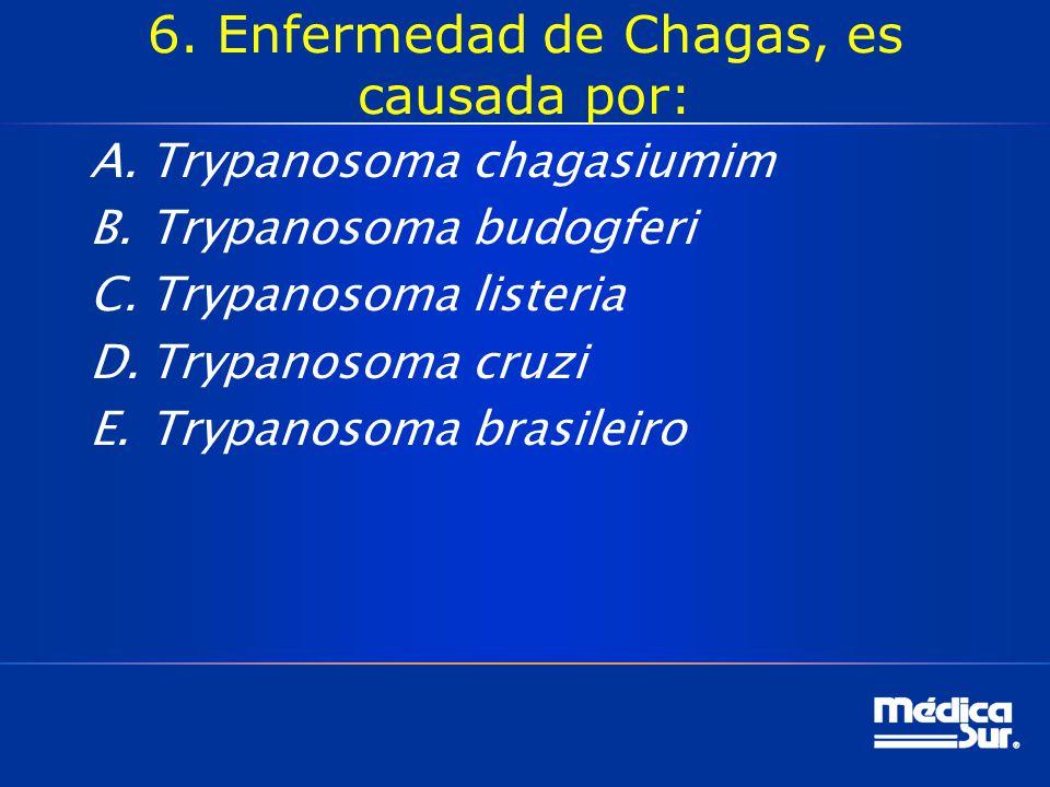 6. Enfermedad de Chagas, es causada por: