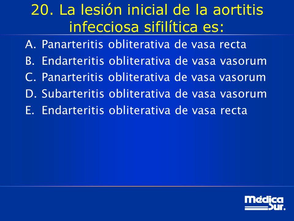 20. La lesión inicial de la aortitis infecciosa sifilítica es: