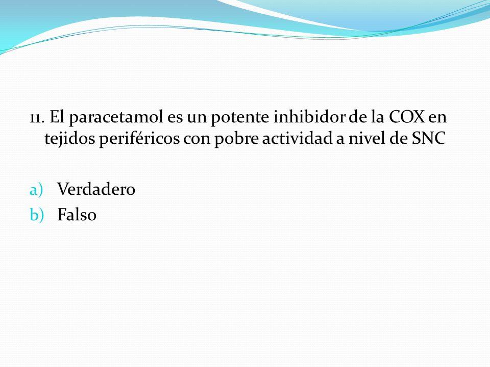 11. El paracetamol es un potente inhibidor de la COX en tejidos periféricos con pobre actividad a nivel de SNC