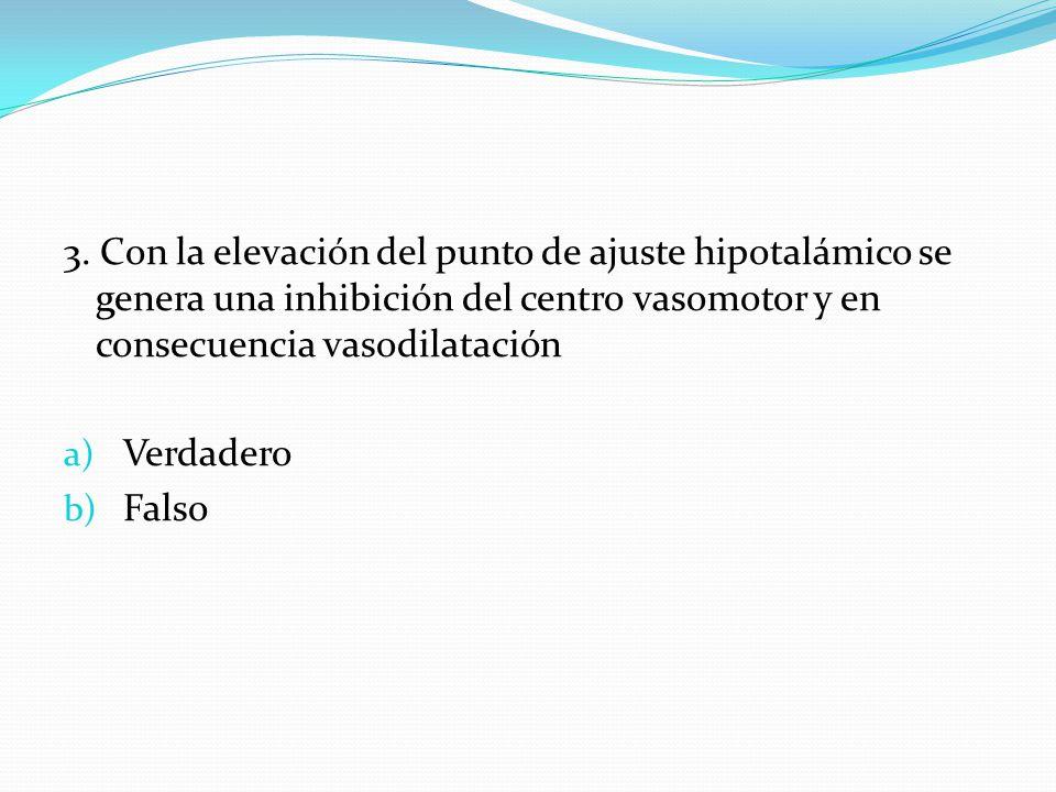 3. Con la elevación del punto de ajuste hipotalámico se genera una inhibición del centro vasomotor y en consecuencia vasodilatación