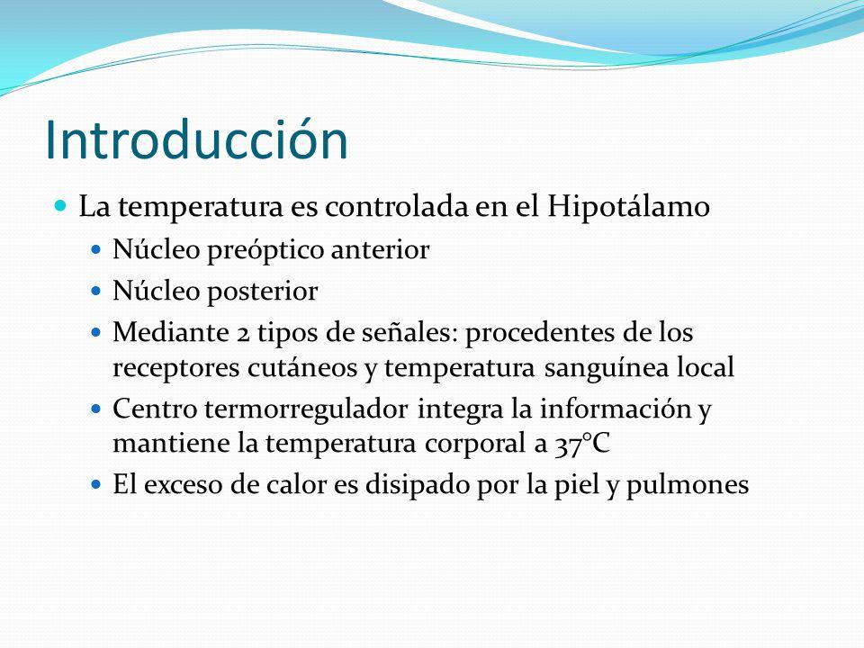 Introducción La temperatura es controlada en el Hipotálamo