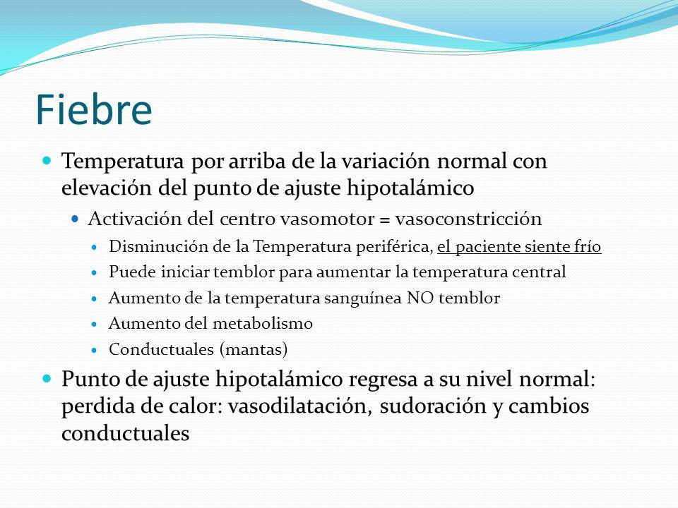Fiebre Temperatura por arriba de la variación normal con elevación del punto de ajuste hipotalámico.