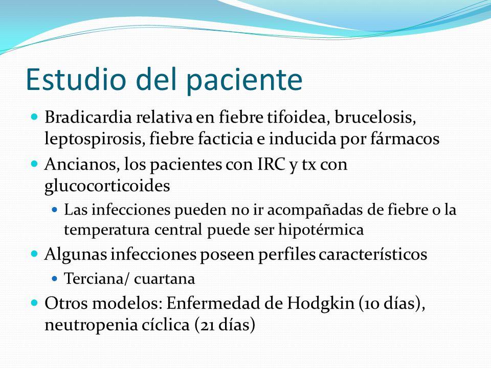 Estudio del paciente Bradicardia relativa en fiebre tifoidea, brucelosis, leptospirosis, fiebre facticia e inducida por fármacos.