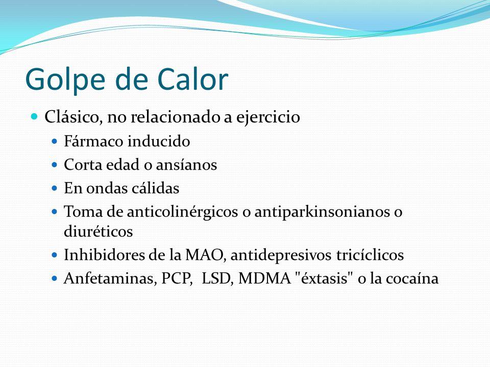 Golpe de Calor Clásico, no relacionado a ejercicio Fármaco inducido