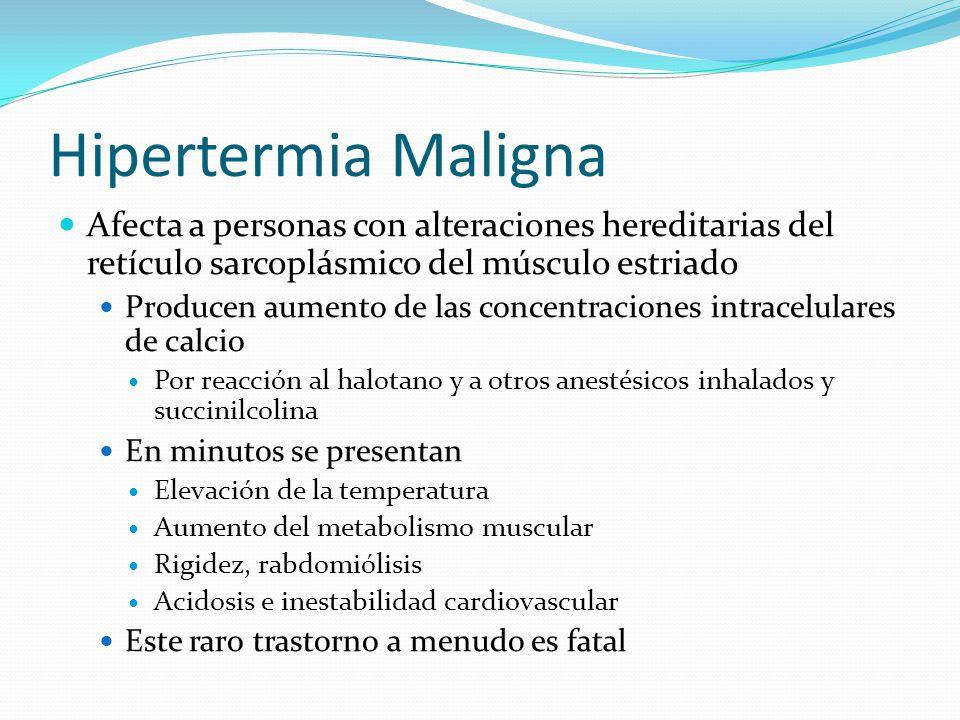 Hipertermia Maligna Afecta a personas con alteraciones hereditarias del retículo sarcoplásmico del músculo estriado.