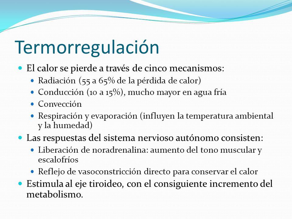 Termorregulación El calor se pierde a través de cinco mecanismos:
