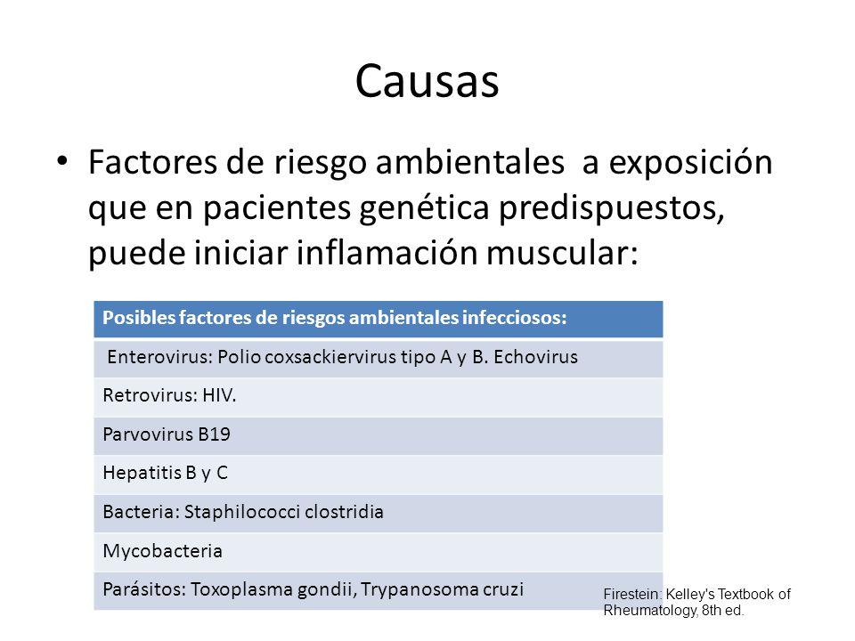 Causas Factores de riesgo ambientales a exposición que en pacientes genética predispuestos, puede iniciar inflamación muscular: