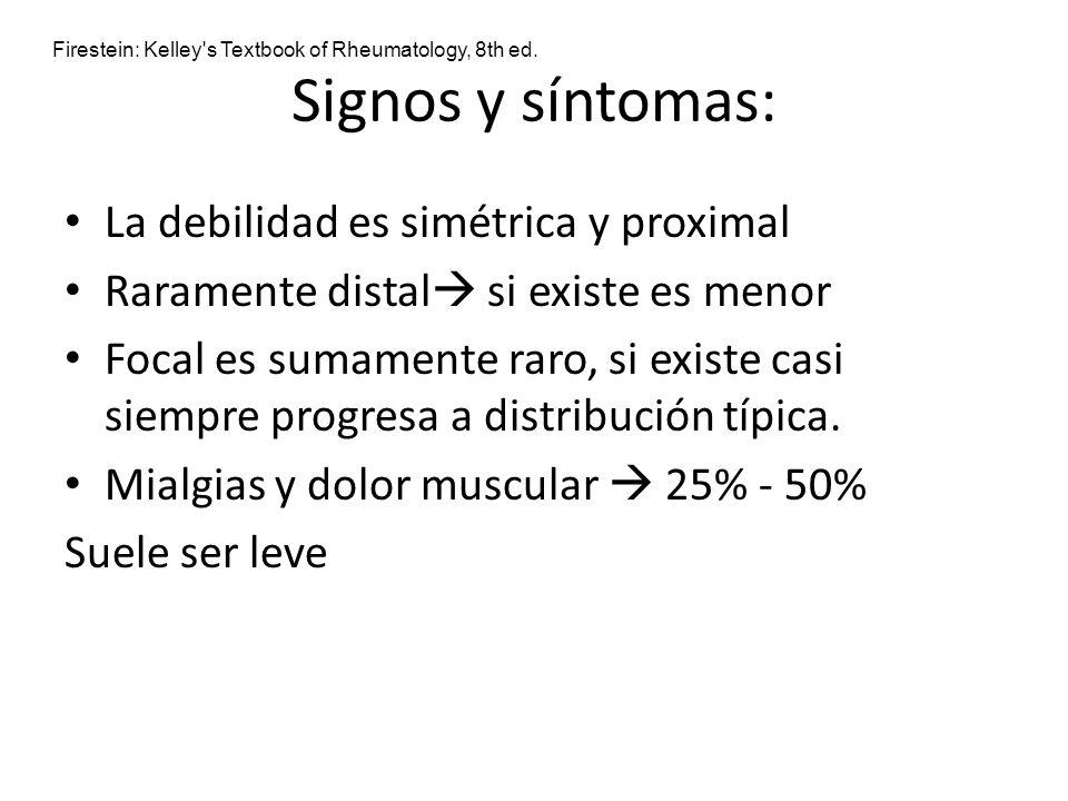 Signos y síntomas: La debilidad es simétrica y proximal