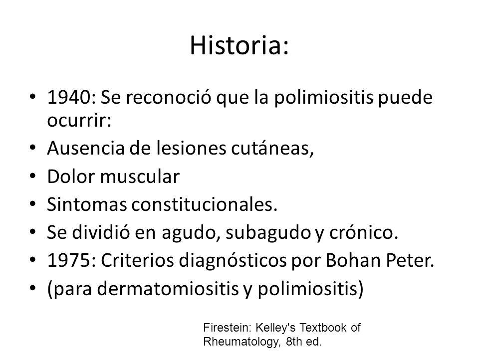 Historia: 1940: Se reconoció que la polimiositis puede ocurrir: