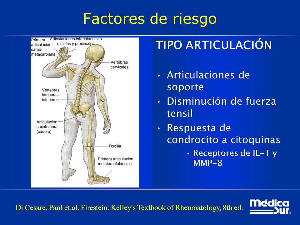Factores de riesgo TIPO ARTICULACIÓN Articulaciones de soporte