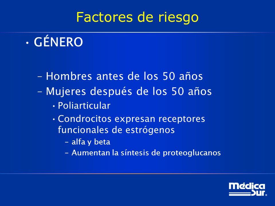 Factores de riesgo GÉNERO Hombres antes de los 50 años