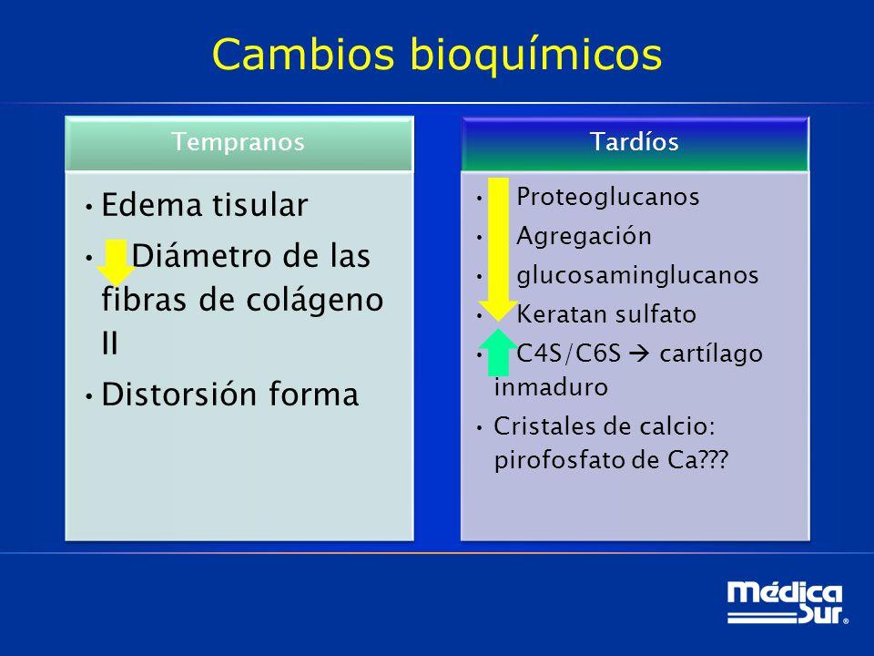 Cambios bioquímicos Edema tisular