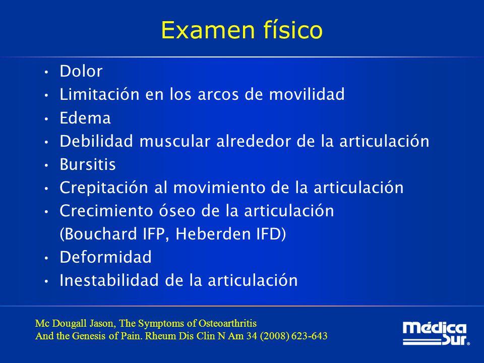 Examen físico Dolor Limitación en los arcos de movilidad Edema
