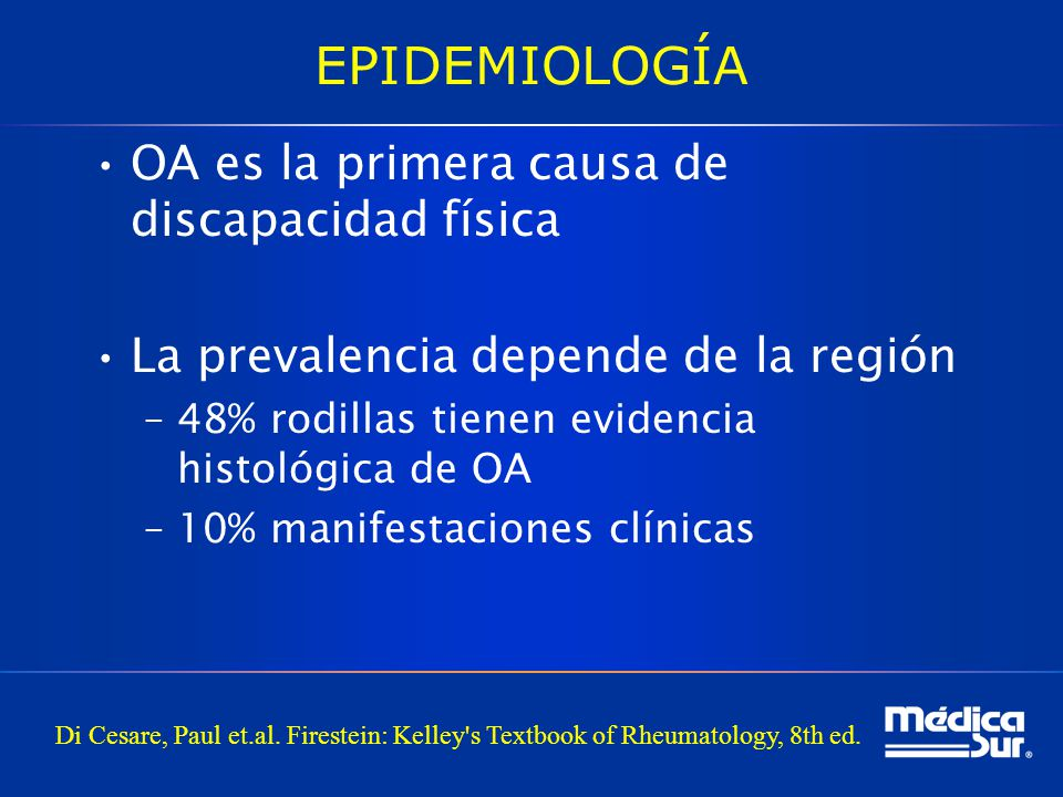 EPIDEMIOLOGÍA OA es la primera causa de discapacidad física
