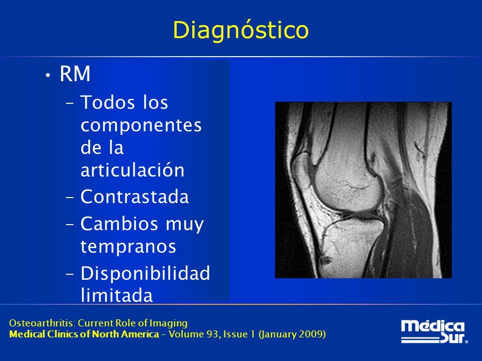 Diagnóstico RM Todos los componentes de la articulación Contrastada
