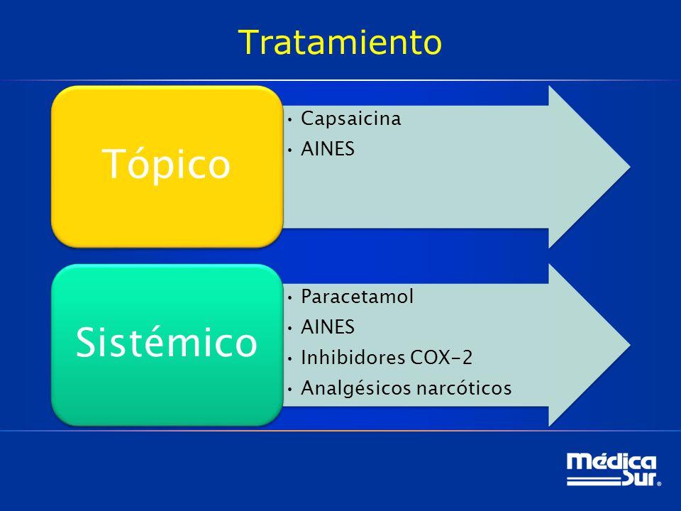 Tópico Sistémico Tratamiento Capsaicina AINES Paracetamol