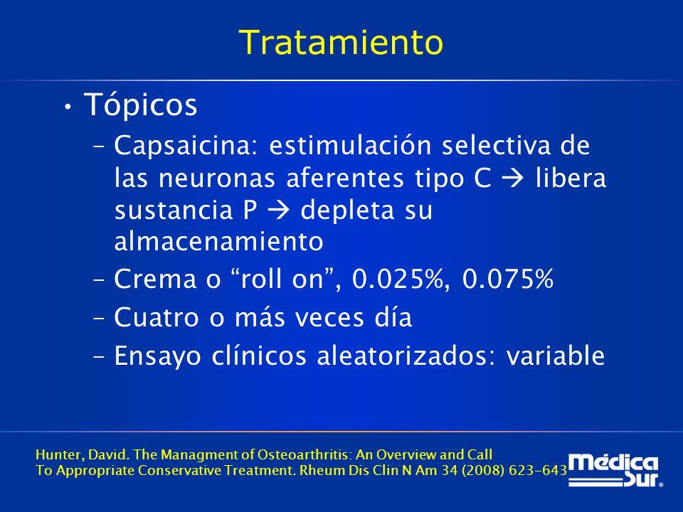 Tratamiento Tópicos. Capsaicina: estimulación selectiva de las neuronas aferentes tipo C  libera sustancia P  depleta su almacenamiento.
