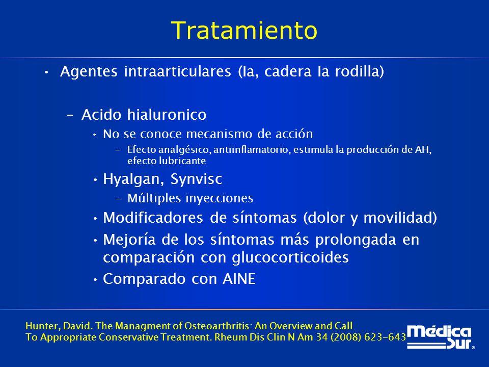 Tratamiento Agentes intraarticulares (Ia, cadera Ia rodilla)