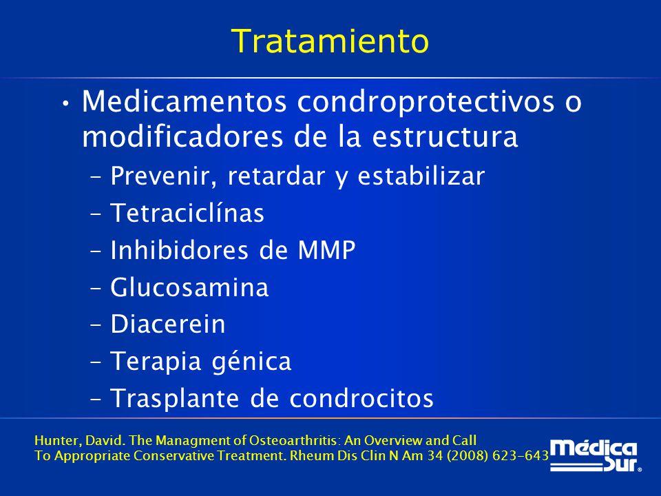 Tratamiento Medicamentos condroprotectivos o modificadores de la estructura. Prevenir, retardar y estabilizar.