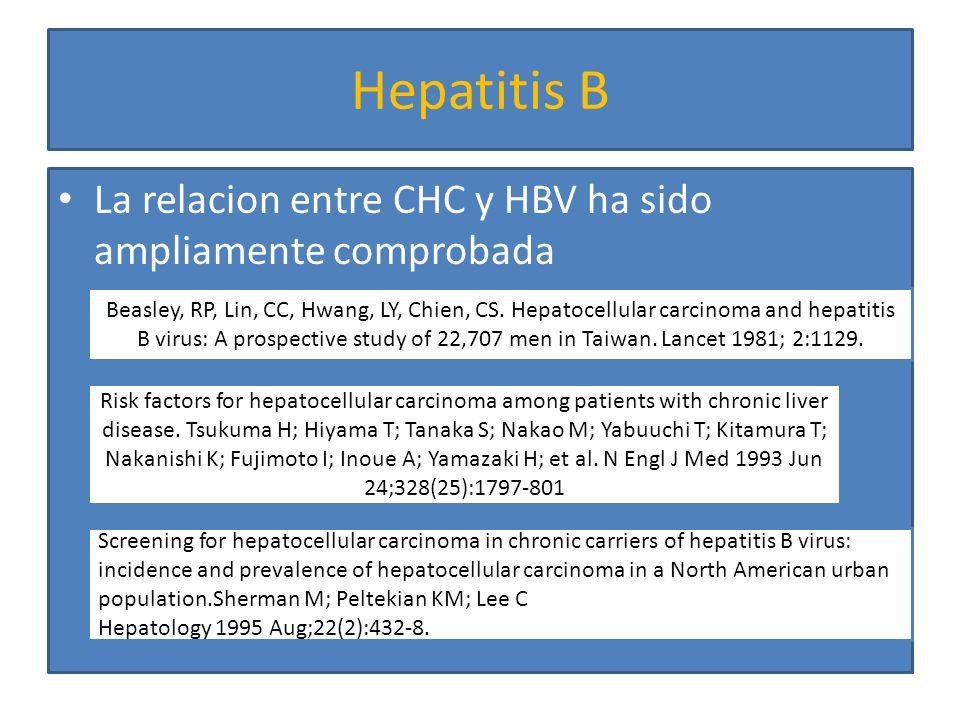 Hepatitis B La relacion entre CHC y HBV ha sido ampliamente comprobada