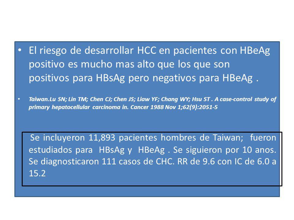 El riesgo de desarrollar HCC en pacientes con HBeAg positivo es mucho mas alto que los que son positivos para HBsAg pero negativos para HBeAg .