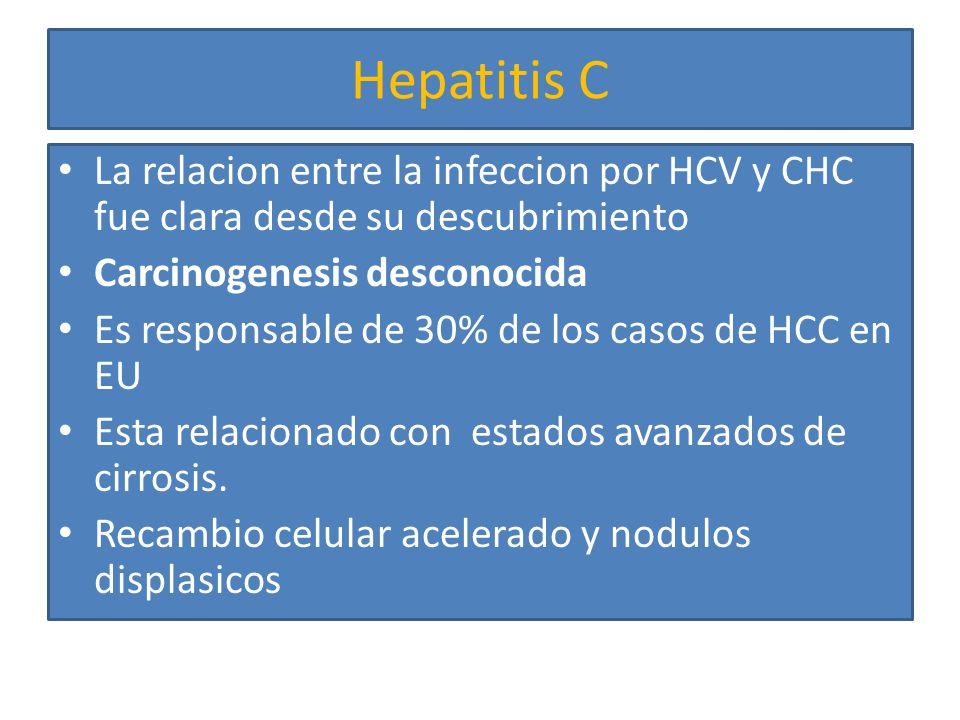 Hepatitis C La relacion entre la infeccion por HCV y CHC fue clara desde su descubrimiento. Carcinogenesis desconocida.