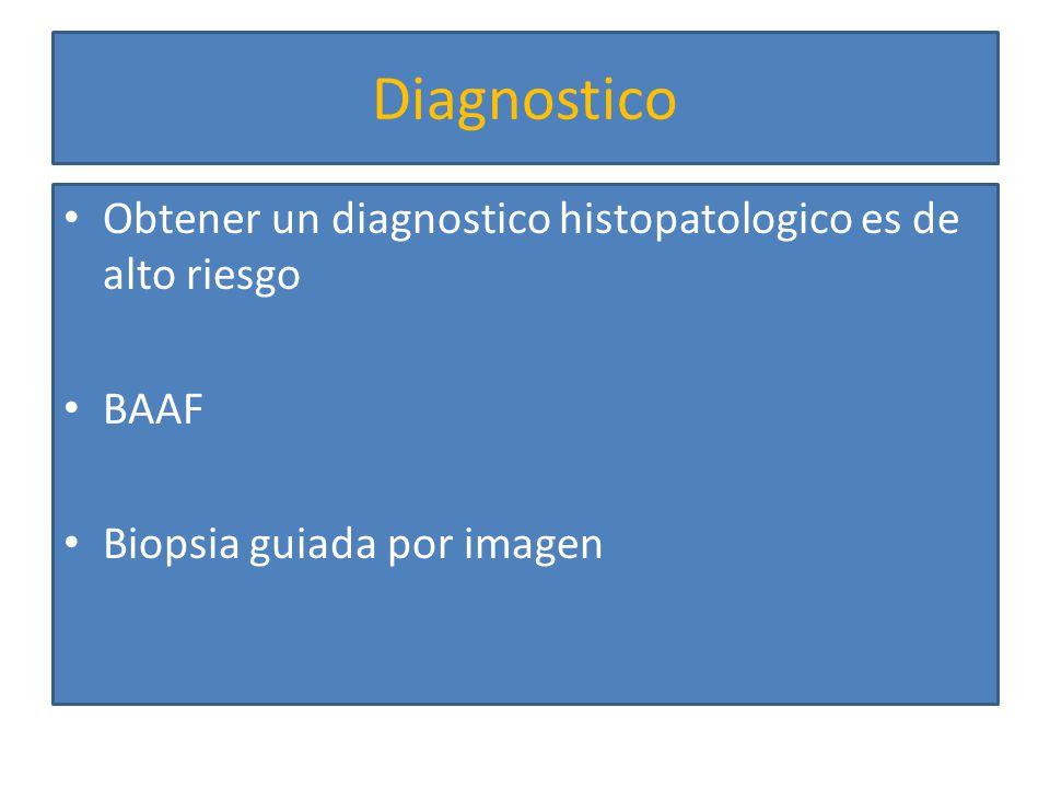 Diagnostico Obtener un diagnostico histopatologico es de alto riesgo