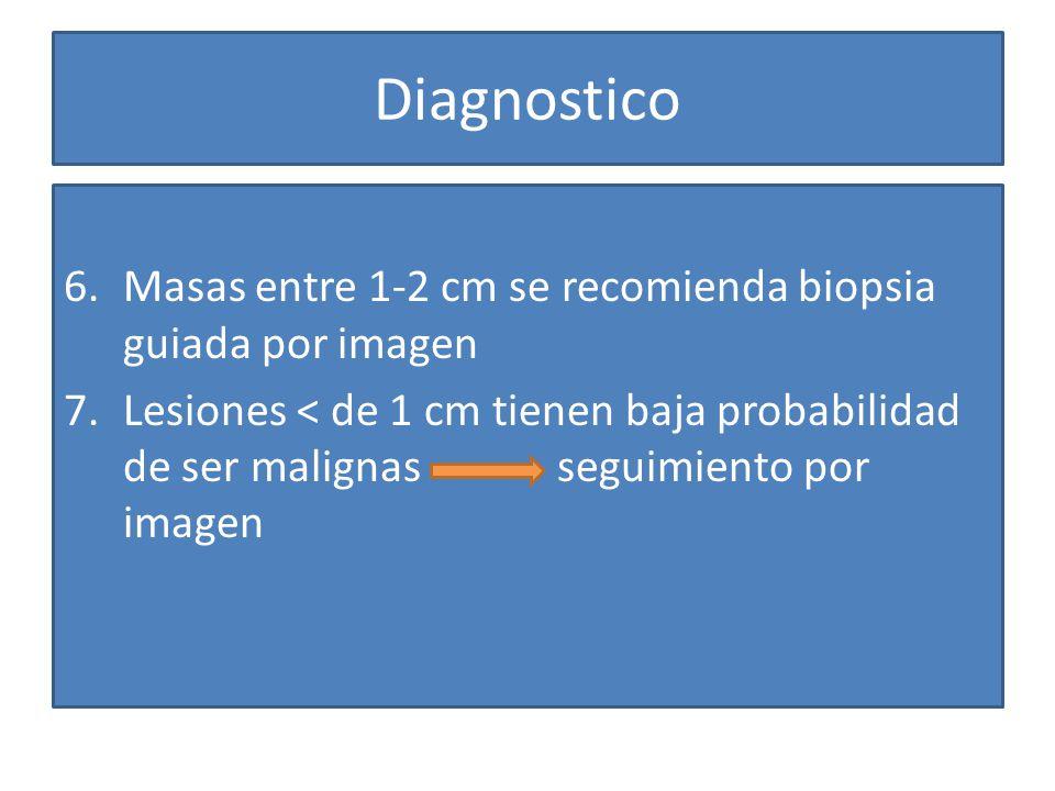Diagnostico Masas entre 1-2 cm se recomienda biopsia guiada por imagen