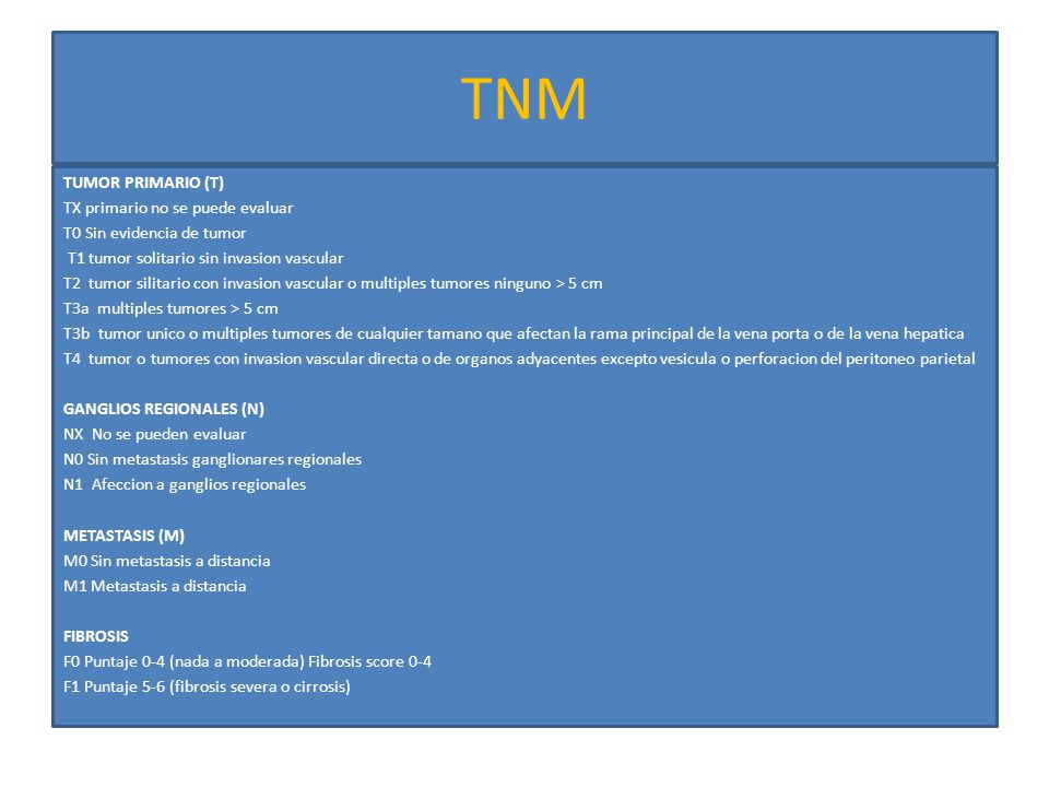 TNM TUMOR PRIMARIO (T) TX primario no se puede evaluar