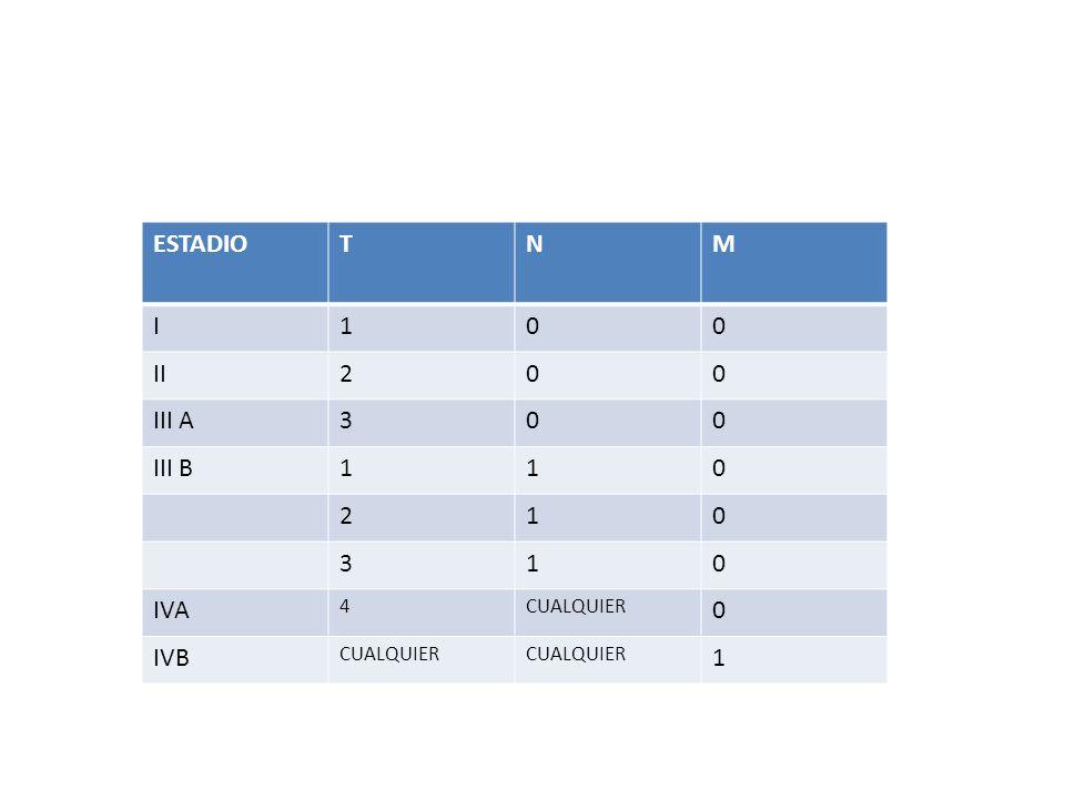 ESTADIO T N M I 1 II 2 III A 3 III B IVA 4 CUALQUIER IVB