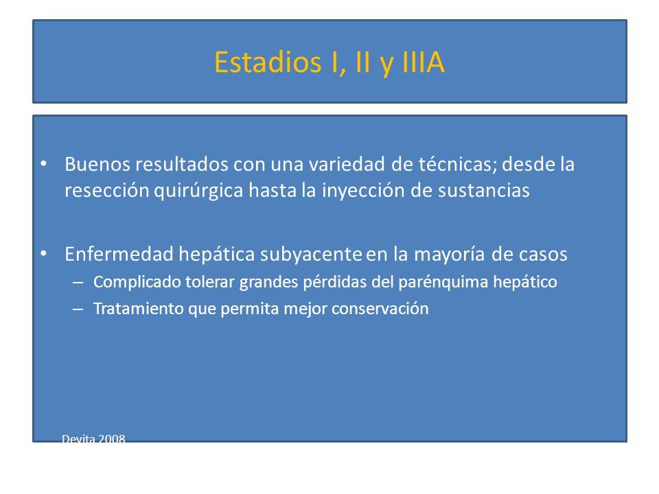 Estadios I, II y IIIA Buenos resultados con una variedad de técnicas; desde la resección quirúrgica hasta la inyección de sustancias.