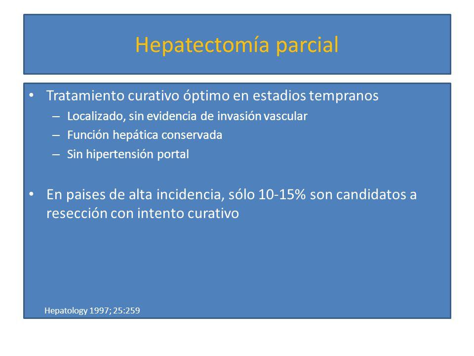 Hepatectomía parcial Tratamiento curativo óptimo en estadios tempranos