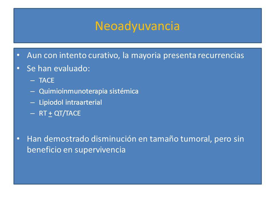 Neoadyuvancia Aun con intento curativo, la mayoria presenta recurrencias. Se han evaluado: TACE. Quimioinmunoterapia sistémica.