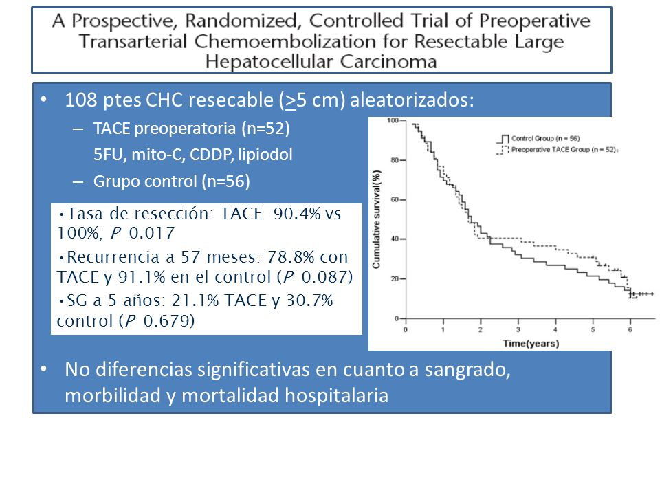 108 ptes CHC resecable (>5 cm) aleatorizados: