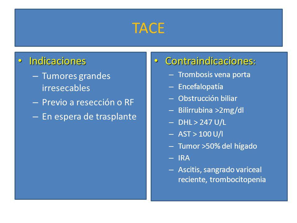 TACE Indicaciones Contraindicaciones: Tumores grandes irresecables