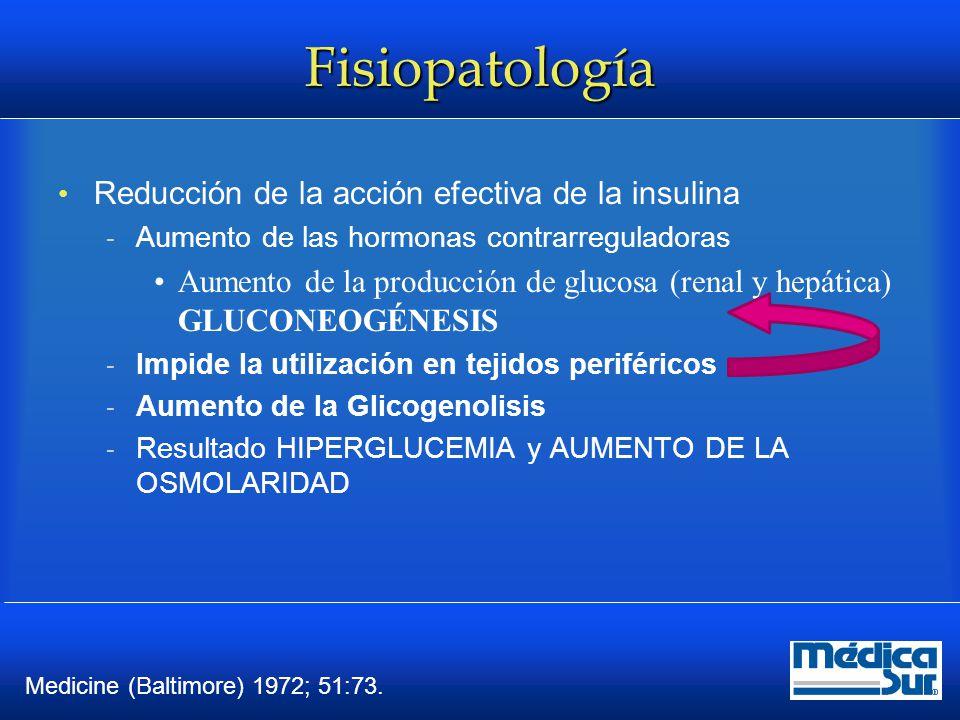 Fisiopatología Reducción de la acción efectiva de la insulina