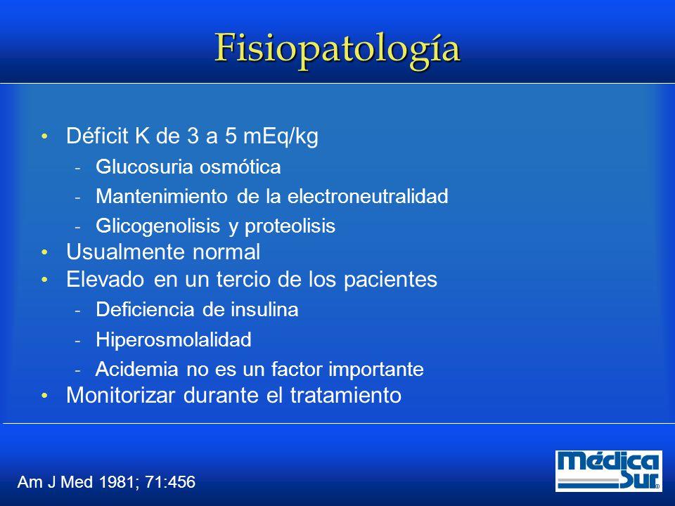 Fisiopatología Déficit K de 3 a 5 mEq/kg Usualmente normal