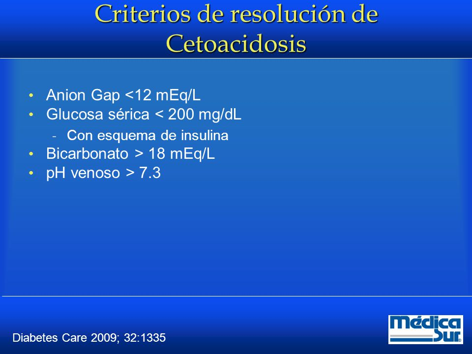 Criterios de resolución de Cetoacidosis