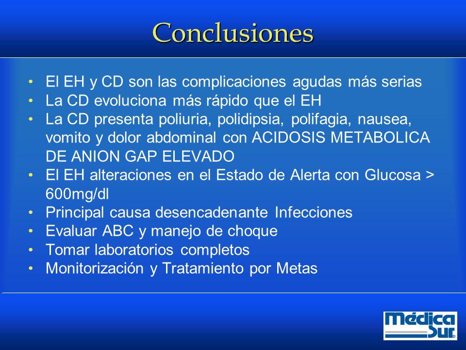 Conclusiones El EH y CD son las complicaciones agudas más serias