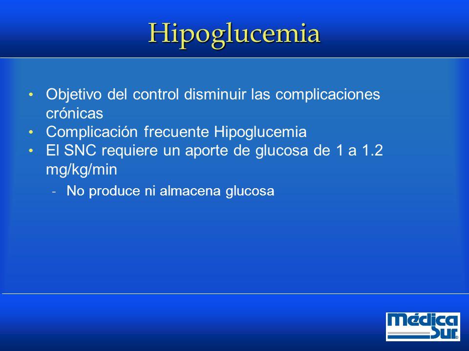 Hipoglucemia Objetivo del control disminuir las complicaciones crónicas. Complicación frecuente Hipoglucemia.